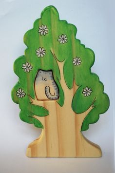 WALDORF Wooden SPRING TREE, with pink flowers and cat / woodland animal set Puzzle/ Handmade Wooden Toy Waldorf Inspired by JuguetesEloisa on Etsy