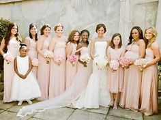 blush dresses, blush wedding, blush bridesmaids, blush color palette - @Jessica Glynn
