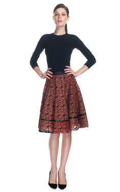 Patrícia Viera Laser Cut Rechilieu Work A-Line Skirt