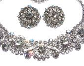 Vintage Smoky Rhinestone Cluster Necklace Earrings Demi Jewelry Set