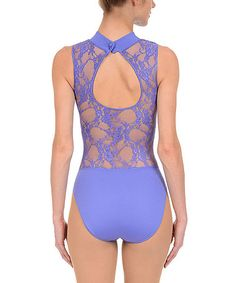Loving this Dusted Periwinkle Lace Back Leotard - Juniors & Petite on #zulily! #zulilyfinds