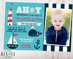 NAUTICAL Birthday INVITATION Nautical First Birthday Invitation - Whale Sailboat  Boat Anchor Lighthouse Summer Beach on Etsy, $15.00