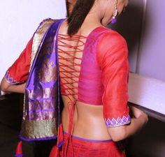 Pink and orange blouse with tying design at back