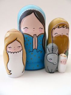 Pony Chops: Nativity Russian Dolls. So cute, except why on earth would they choose to make Mary larger than Joseph??