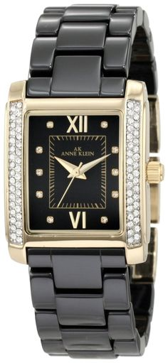 Anne Klein Women's 10/9922BKBK Swarovski Crystal Accented Gold-Tone Black Ceramic Bracelet Watch : Disclosure: Affiliate link