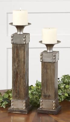 Candle holders w/an antiqued silver finish!