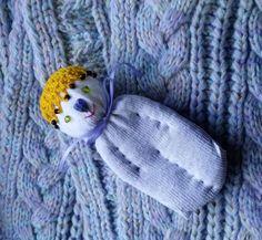 Lavender Filled Sachet Handmade Sock Doll OOAK White w/Beaded Yellow Hat #Pedricks