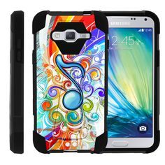 Samsung Galaxy J3 Case, Amp Prime Case, Express Prime Case [SHOCK FUSION] Rugged Slim Heavy Duty Impact Hard Kickstand Cover Shell with Design by Miniturtle® - Music Note