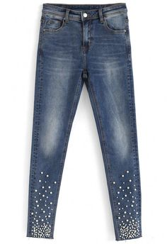 Delight in Pearls High Waist Skinny Jeans Only Shorts, Jeans Refashion, Bling Jeans, Denim And Diamonds, Ways To Wear A Scarf, Denim Ideas, Designs For Dresses, Denim Fashion, Fashion Fashion