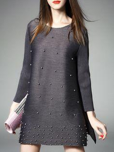 ¡Cómpralo ya!. Grey Beading Pleated Elastic Shift Dress. Grey Round Neck Long Sleeve Nylon Shift Short Plain Fabric is very stretchy Summer Casual Day Dresses. , vestidoinformal, casual, informales, informal, day, kleidcasual, vestidoinformal, robeinformelle, vestitoinformale, día. Vestido informal  de mujer color gris de SheIn.