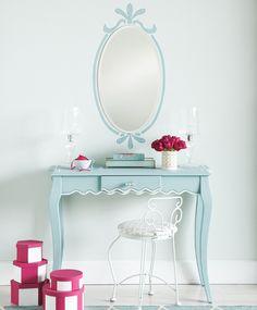 stencil around the mirror