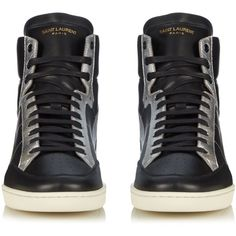 Saint Laurent Star-panelled high-top leather trainers (€505) ❤ liked on Polyvore featuring men's fashion, men's shoes, men's sneakers, shoes, guys clothes, men, zapatos hombre, mens shoes, mens leather sneakers and mens leather high tops