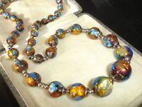 Vintage 1920s l930s Art Deco pretty blue & gold foil glass ball beads necklace