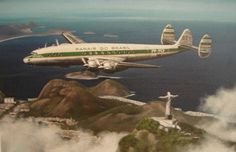 Lockheed Constellation Panair do Brasil. Lockheed Constellation, registro PP-PCF (cn Commercial Plane, Commercial Aircraft, Ana Airlines, Airplane History, Air Company, Airplane Photography, Passenger Aircraft, Cities, Jet Engine