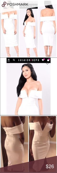 Fashion Nova White Bardot Midi Dress Glorious white off shoulder bardot dress from fashion nova. Stretchy material, zip closure back. Wire v neck at the chest. Bodycon. Size small. Worn once. Midi length. Off-white color.  If you love these brands: 🌸 fashion nova 🌸 missguided 🌸 nasty gal 🌸 tobi 🌸 boohoo 🌸 house of cb You will love this! Fashion Nova Dresses