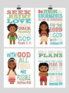 Moana Christian Nursery Decor Wall Art Set of 4 Prints - Moana, Tui, Maui and Sina - Bible Verse - Multiple Sizes