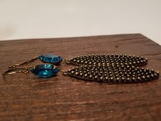 Gorgeous Teal Blue Swarovski Earrings - Antiqued Bohemian Pendant - Handmade - Boho Chic