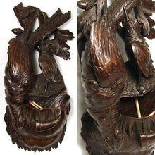 "Antique Black Forest 11"" Hunt Theme Figural Grouping, Plaque, Match Holder"