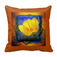 "Yellow tulip on blue, green, and orange grunge decorator pillow.  16""x16"" , 20""x20"", 13""x21"".  http://www.zazzle.com/littlethingsdesigns?rf=238200194340614103"