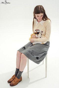 Feline Fling Skirt (Grey) - Miss Patina - Vintage Inspired Fashion