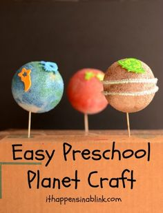 Easy Preschool Planet Craft from It Happens in a Blink - Elijah has been asking so many questions about the solar system. Space Activities, Science Projects, Preschool Activities, Projects For Kids, Diy For Kids, Crafts For Kids, Creative Activities For Kids, Craft Projects, Easy Preschool Crafts