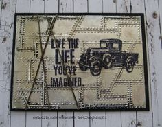 """By Susie Williams. Stamps and embossing folder by Tim Holtz. She used adhesive roofing foil BUT couldn't find any kind of ink that would stay on it! So, try this with aluminum foil adhered to cardstock with edges wrapped around the cardstock. Folder is """"Riveted"""" by Sizzix/TimHoltz."""