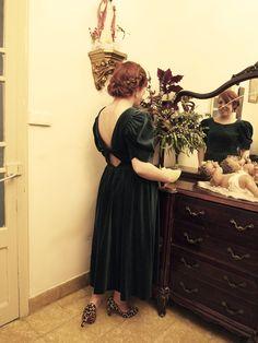 Laura Ashley vintage velvet dress, Christian Louboutin shoes and Filigrina earrings