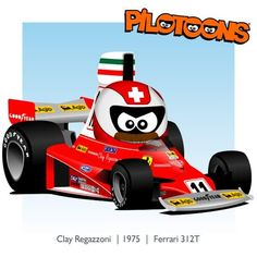 Print on canvas: Ferrari 1975 Clay Regazzoni (SUI) by BM Designed by Bruno Mantovani, exclusive for Adam's World Memorabilia Please note, the delivery time is about 2 weeks! Clay Regazzoni, F1 Drivers, F 1, Formula One, Motogp, Le Mans, Hot Wheels, Race Cars, Ferrari