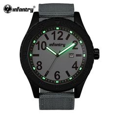 Mens Military Infantry Style Wristwatch - Luminous - Fabric Strap #menswatch #watches #dualdisplay #outdoors #climbing #military