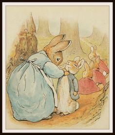 "Mother Rabbit and Bunnies by Beatrix Potter Art Print 8 x 10"""