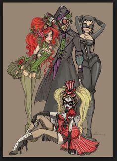 Steampunk art: Harley Quinn, Poison Ivy, Catwoman, amd Joker
