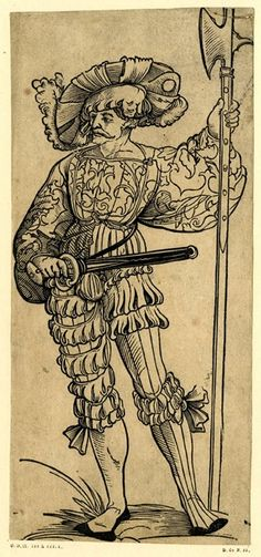 A landsknecht holding a halberd in his left hand; WL, looking to left. From a series of 50 woodcuts.  c.1525-30 Woodcut