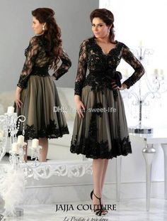 Wholesale 2014 Fashion Black Plus Size Mother of the Bride Dresses Tea Length V-Neck Applique Lace Beads Groom Mother Dress Evening Gowns Formal Dress, Free shipping, $122.75/Piece | DHgate Mobile