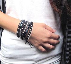 Jewelry Making Bracelets DIY: How To Make Chan Luu Wrap Bracelet (Women's Style) Dark Blue Fire Agate Mix Wrap Bracelet On Natural Dark Blue Leather Diy Bracelets Leather Cord, Leather Jewelry, Beaded Leather Wraps, Hippie Jewelry, Beaded Jewelry, Handmade Jewelry, Jewlery, Men's Jewellery, Vintage Jewellery