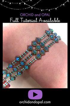 Seed Bead Jewelry, Bead Jewellery, Jewelry Making Beads, Seed Beads, Beaded Jewelry, Netted Bracelet, Beaded Bracelet Patterns, Beading Patterns, Beaded Bracelets