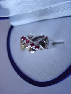 Sterling Silver 4 Band 0.12ct Ruby Turkish Puzzle Ring - Sizes 4 to 12 #Dimenticare #Band