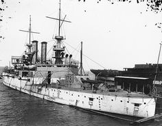 USS Illinois Battleship BB-7 at Newport News Shipbuilding in 1901.  USS Illinois (BB-7), the second ship of the United States Navy to be named for the 21st state, was a battleship, the lead ship of her class.  Illinois was laid down on 10 February 1897 by the Newport News Shipbuilding & Dry Dock Company of Newport News, Virginia. She was launched on 4 October 1898 nd commissioned on 16 September 1901, Captain George A. Converse in command.