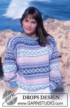 Jumper with heart pattern borders pattern by DROPS design Jumper Knitting Pattern, Knitting Patterns Free, Free Knitting, Crochet Patterns, Drops Design, Border Pattern, Free Pattern, Pull Torsadé, Sewing Sleeves
