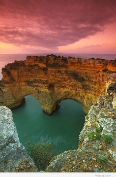 Sea arch heart in Portugal