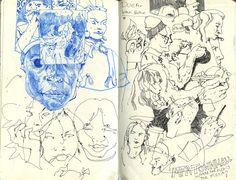 black line drawings, line art, drawings of people layered