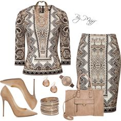 A fashion look from September 2014 featuring Etro tops, Etro skirts and Jimmy Choo pumps. Browse and shop related looks.