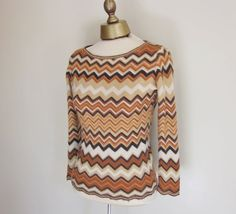 Cashmere sweater, chevron stripes,from Nieman Marcus ombre fall colors, S.    Missoni-type stripes....pumpkin, cream, banana, rust and https://www.etsy.com/listing/154279661/cashmere-sweater-chevron-nieman-marcus