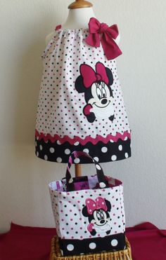 Minnie Mouse Dress and Minnie Mouse Bag Set by CreativeBagsForKids, $68.00