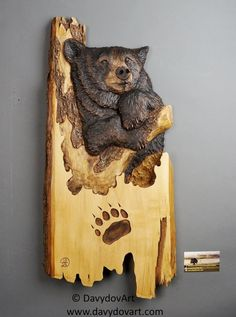 grizzly bear carving wood carving with bark hand made gift wall