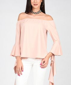 This Light Pink Off-Shoulder Asymmetrical Flounce Top is perfect! #zulilyfinds