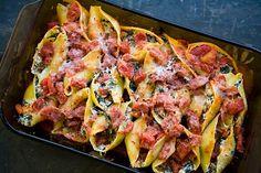 Italian sausage, spinach, ricotta stuffed pasta shells