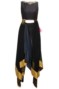 Black gold pearl and stone work top with grey ombre wrap skirt available only at Pernia's Pop-Up Shop.