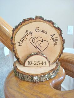 Cake Topper Personalized Rustic Wedding Romantic Country Wood Burned on Etsy, $28.00