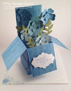 Flower Shop, Hardwood, Well Scripted (retired) Mother's Day folding box card #MyStampinHaven #StampinUp http://www.mystampinhaven.com.au/products/#cid=1072137
