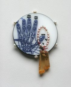 Jack Cunningham - brooch - Fragments and Curiosities (Series)  Oxidised silver, perspex, cultured pearl, 18ct gold, amber, ruby
